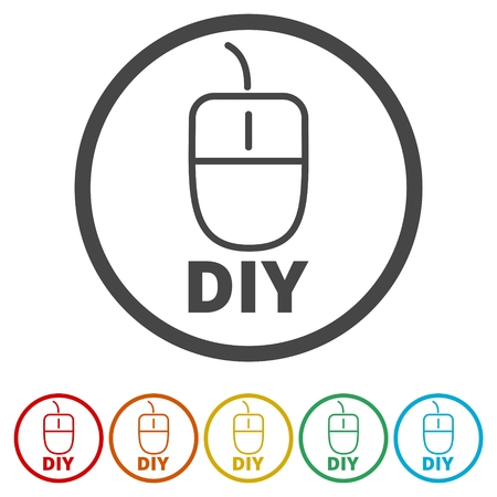 Computer mouse with the text DIY, Do it yourself icon, 6 Colors Included
