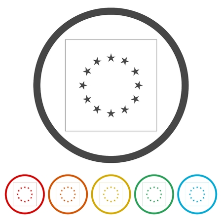 European Union flag, EU flag, Star icon, 6 Colors Included