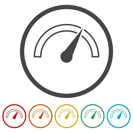 Vector performance measurement icon, speedometer icon, 6 Colors Included