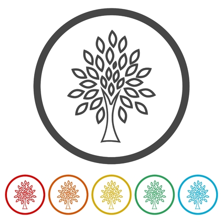 Simple tree icon, Tree Icon vector illustration, 6 Colors Included Ilustração