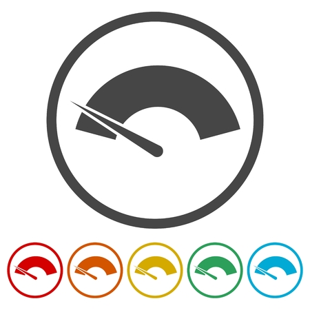 Speedometer or gauge icon, 6 Colors Included Illustration