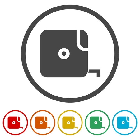 Vector of flat icon, tape measure, Tape icon illustration, 6 Colors Included