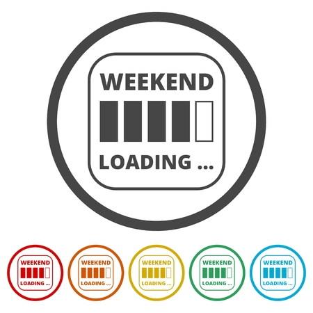 Weekend loading sign. Business concept. Vector illustration, 6 Colors Included