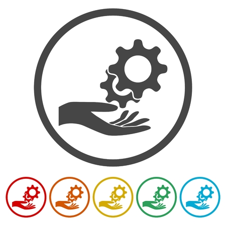 Service Icon, Business Concept , Gears icon, 6 Colors Included
