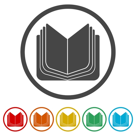 Open book icon, vector book icon, vector illustration, 6 Colors Included