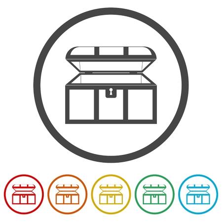 Treasure chest open vector icon, 6 Colors Included Vettoriali