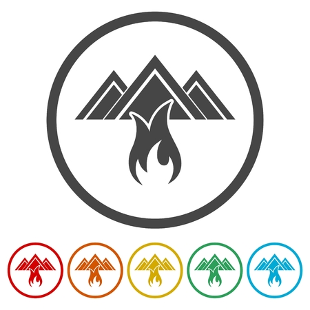 Fire warning icon, 6 Colors Included