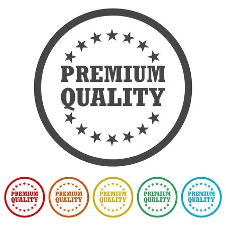 Premium quality, Premium quality label, 6 Colors Included Ilustração