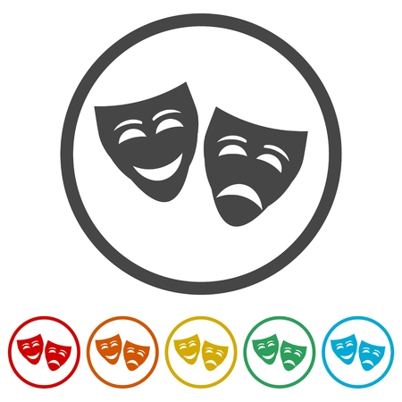 Theater mask isolated icon, 6 Colors Included 向量圖像