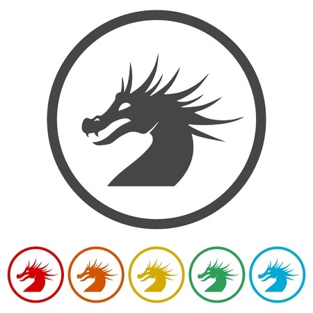 Dragon mascot, Black Silhouette Of Dragon, 6 Colors Included