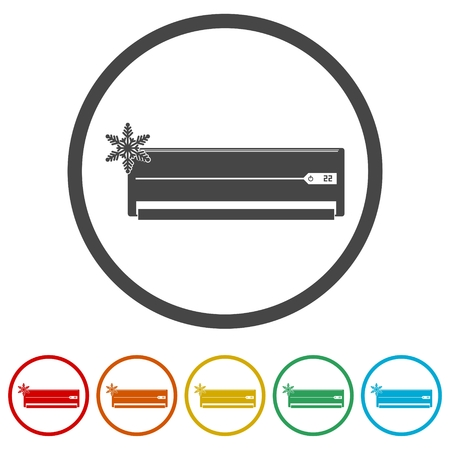Air conditioner icon, 6 Colors Included