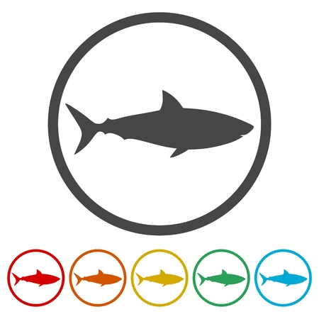 Shark sign, Shark icon, 6 Colors Included