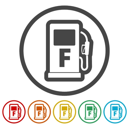 Gas pump icon, Gasoline and diesel fuel symbol, 6 Colors Included
