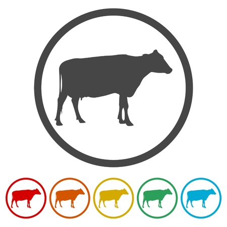 Cow silhouette icon, 6 Colors Included Vettoriali