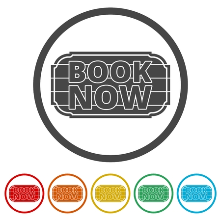 Book Now icon, Book Now sign, 6 Colors Included Illustration