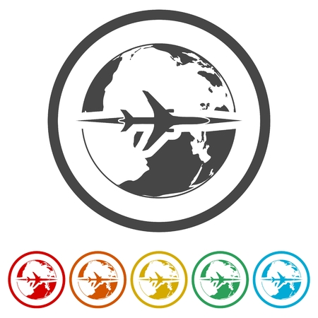 World travel, Travel around the world flat design, 6 Colors Included