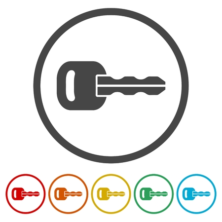 Key icon, Key icon in flat style, 6 Colors Included