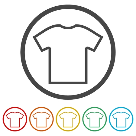 T-shirt vector icon, Vector Blank Tshirt Icon Symbol, 6 Colors Included