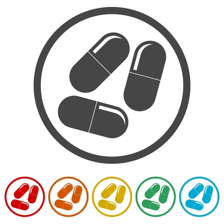 Pills icon, Medicine Pills, 6 Colors Included