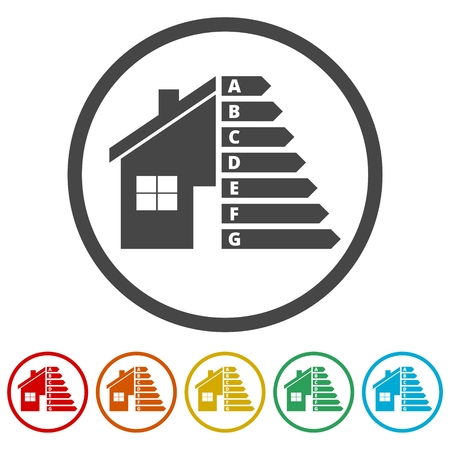 Housing energy efficiency, House and energy efficiency concept, 6 Colors Included