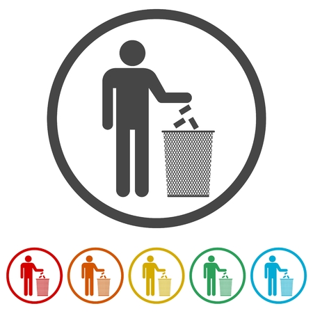 Human silhouette throwing garbage into a trash can, 6 Colors Included