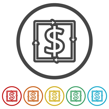 Money convert icon, 6 Colors Included