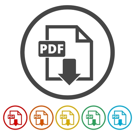 PDF digital document file format flat vector icon, Vector pdf download symbol, 6 Colors Included