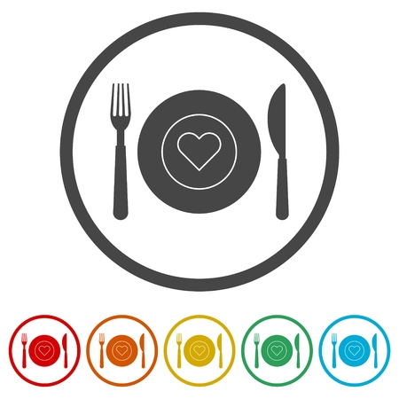Healthy Food Plate, Food dinning kitchen menu restaurant icon, 6 Colors Included