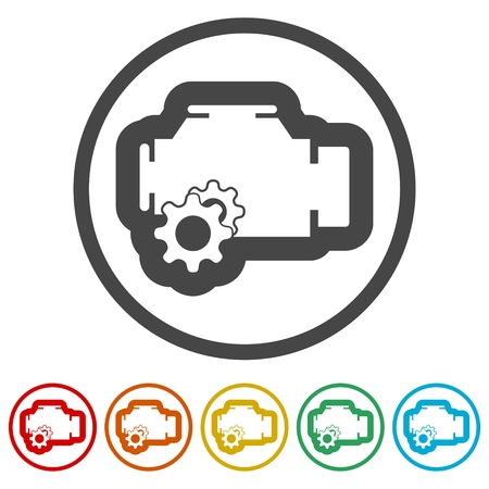 Electric motor icon, 6 Colors Included 向量圖像