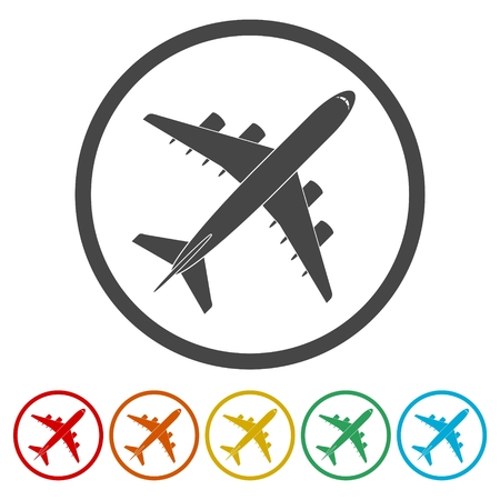 Plane icon, Airplane symbol, 6 Colors Included
