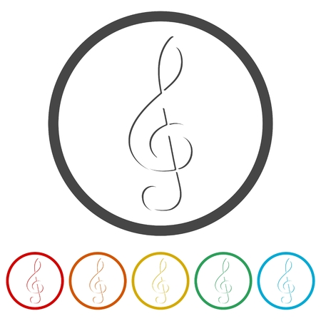 Treble Clef icon, Musical key, 6 Colors Included Illustration