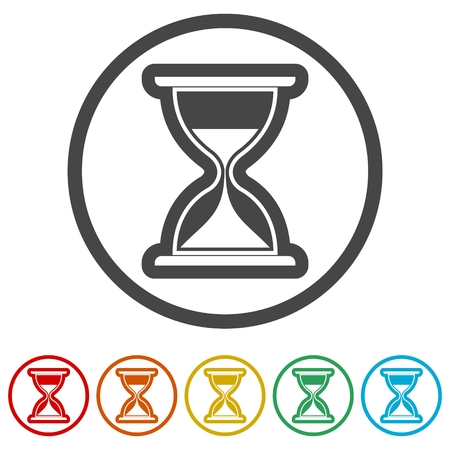 Icône de sablier, illustration d'horloge de sable, 6 couleurs incluses Vecteurs