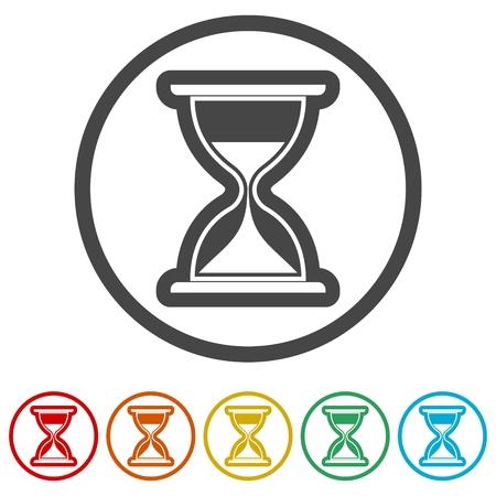 Ikona klepsydry, ilustracja zegara piaskowego, 6 kolorów w zestawie Ilustracje wektorowe