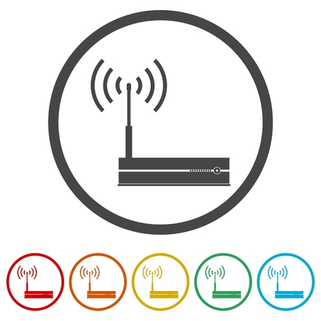 Router icon, Modem router, 6 Colors Included
