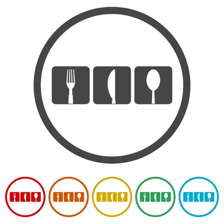 Restaurant icon, 6 Colors Included
