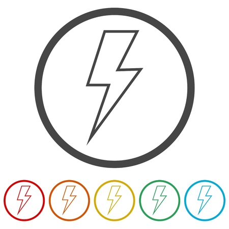 Lightning bolt icon, 6 Colors Included