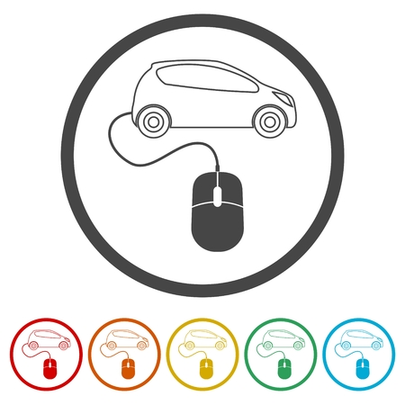 Computer mouse and car icon, 6 Colors Included Ilustração
