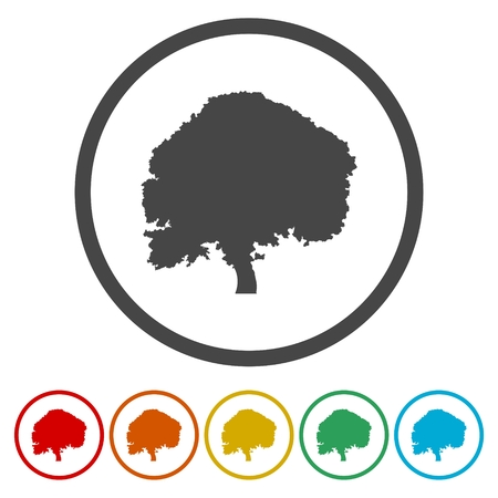 Tree silhouette icon, 6 Colors Included
