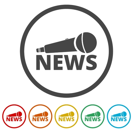 News microphone icon, Vector news microphone icon , 6 Colors Included