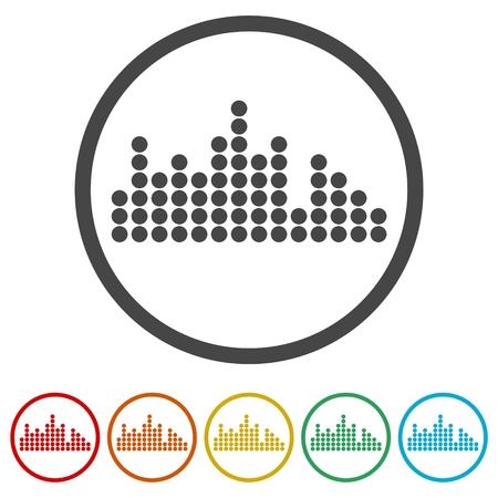 Audiowellensymbol, 6 Farben enthalten