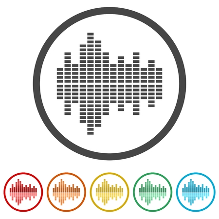 Audio wave icon, 6 Colors Included