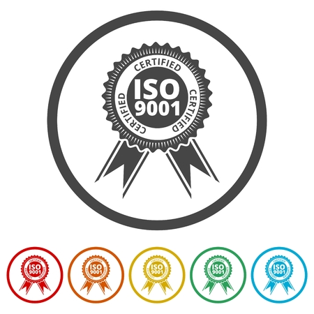 ISO 9001 certified sign icon, 6 Colors Included
