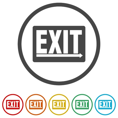 Fire exit sign, Emergency exit, 6 Colors Included