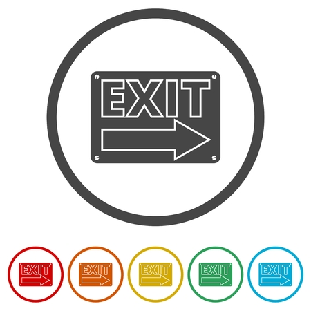 Fire exit sign, Emergency exit, 6 Colors Included Stockfoto - 122247734