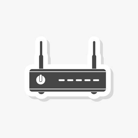 Wireless router sticker, wifi router, simple vector icon Illustration