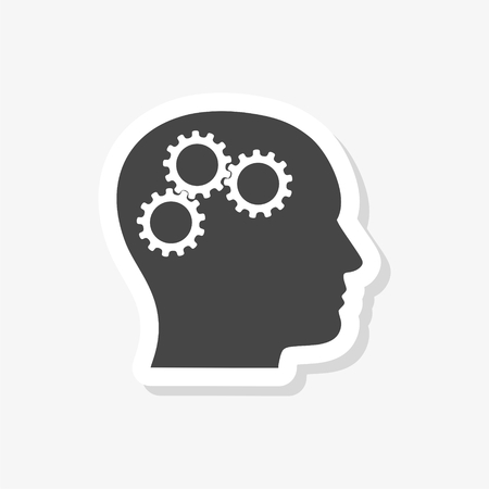 Head with gears concept sticker, simple vector icon