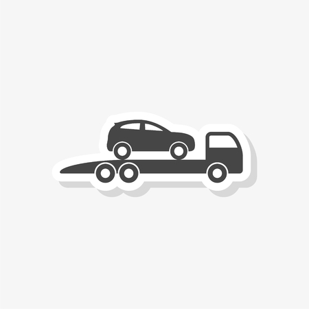 Tow truck with car on it, flat style illustration, Car tow service sticker, simple vector icon
