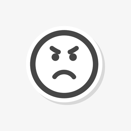 Angry emoticon, emoji sticker, simple vector icon