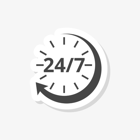 Twenty four hours open sticker, simple vector icon