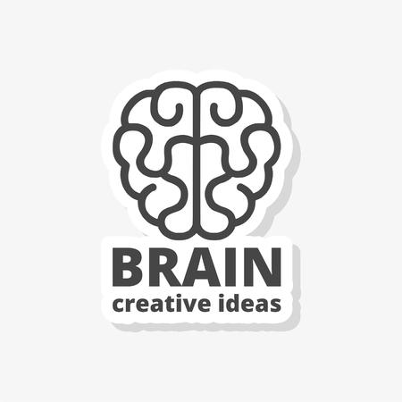 Human brain concept, Brain design vector sticker template, simple vector icon